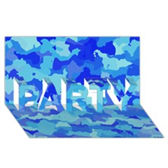 Camouflage Blue Party 3d Greeting Card (8x4)