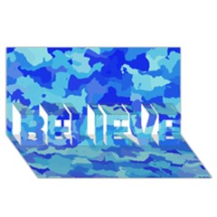 Camouflage Blue Believe 3d Greeting Card (8x4)