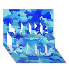 Camouflage Blue TAKE CARE 3D Greeting Card (7x5)