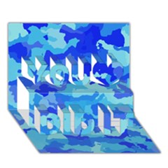 Camouflage Blue You Did It 3d Greeting Card (7x5)