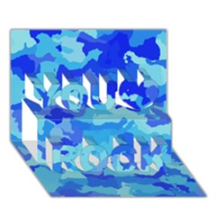 Camouflage Blue You Rock 3D Greeting Card (7x5)