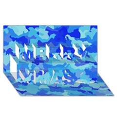 Camouflage Blue Merry Xmas 3D Greeting Card (8x4)