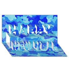 Camouflage Blue Happy New Year 3D Greeting Card (8x4)