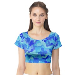 Camouflage Blue Short Sleeve Crop Top