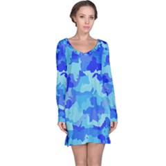 Camouflage Blue Long Sleeve Nightdresses
