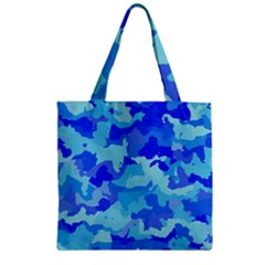 Camouflage Blue Zipper Grocery Tote Bags