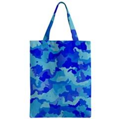 Camouflage Blue Zipper Classic Tote Bags