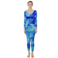Camouflage Blue Long Sleeve Catsuit