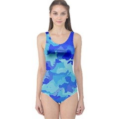 Camouflage Blue Women s One Piece Swimsuits