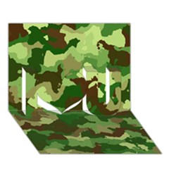 Camouflage Green I Love You 3D Greeting Card (7x5)