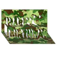 Camouflage Green Happy Birthday 3d Greeting Card (8x4)