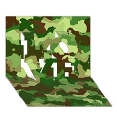 Camouflage Green LOVE 3D Greeting Card (7x5)