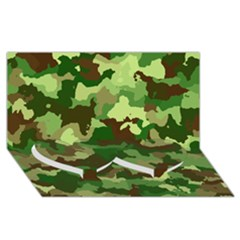 Camouflage Green Twin Heart Bottom 3d Greeting Card (8x4)