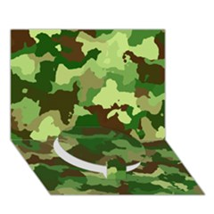 Camouflage Green Circle Bottom 3D Greeting Card (7x5)
