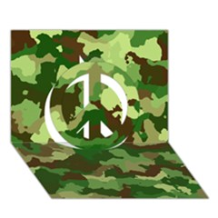 Camouflage Green Peace Sign 3d Greeting Card (7x5)