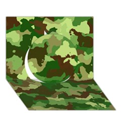 Camouflage Green Circle 3D Greeting Card (7x5)