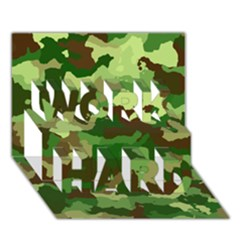 Camouflage Green Work Hard 3d Greeting Card (7x5)