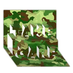 Camouflage Green TAKE CARE 3D Greeting Card (7x5)