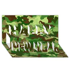 Camouflage Green Happy New Year 3D Greeting Card (8x4)