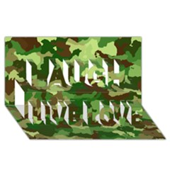 Camouflage Green Laugh Live Love 3D Greeting Card (8x4)