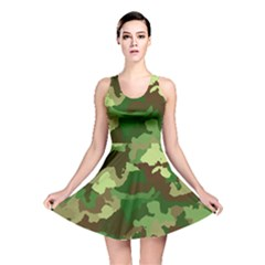Camouflage Green Reversible Skater Dresses