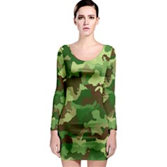 Camouflage Green Long Sleeve Bodycon Dresses