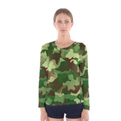 Camouflage Green Women s Long Sleeve T-shirts