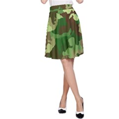 Camouflage Green A-Line Skirts