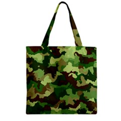 Camouflage Green Zipper Grocery Tote Bags