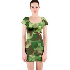 Camouflage Green Short Sleeve Bodycon Dresses