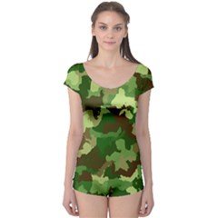 Camouflage Green Short Sleeve Leotard