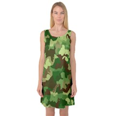 Camouflage Green Sleeveless Satin Nightdresses