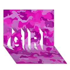 Camouflage Hot Pink GIRL 3D Greeting Card (7x5)