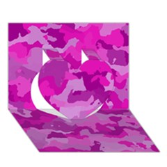 Camouflage Hot Pink Heart 3D Greeting Card (7x5)