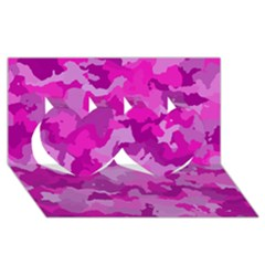 Camouflage Hot Pink Twin Hearts 3D Greeting Card (8x4)