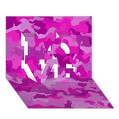 Camouflage Hot Pink Love 3d Greeting Card (7x5)