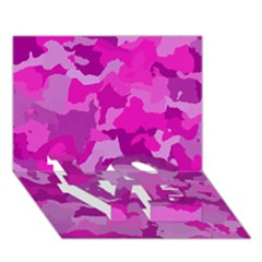 Camouflage Hot Pink Love Bottom 3d Greeting Card (7x5)