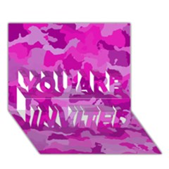 Camouflage Hot Pink You Are Invited 3d Greeting Card (7x5)