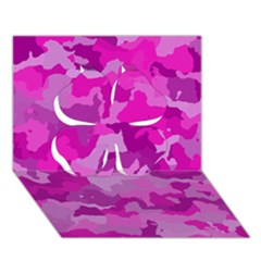 Camouflage Hot Pink Clover 3D Greeting Card (7x5)