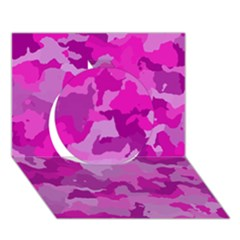 Camouflage Hot Pink Circle 3D Greeting Card (7x5)