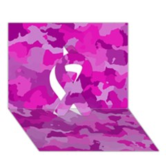 Camouflage Hot Pink Ribbon 3d Greeting Card (7x5)