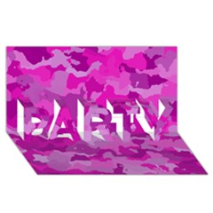 Camouflage Hot Pink Party 3d Greeting Card (8x4)