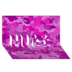 Camouflage Hot Pink HUGS 3D Greeting Card (8x4)