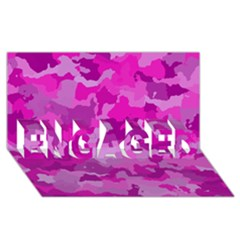 Camouflage Hot Pink ENGAGED 3D Greeting Card (8x4)