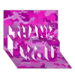 Camouflage Hot Pink THANK YOU 3D Greeting Card (7x5)