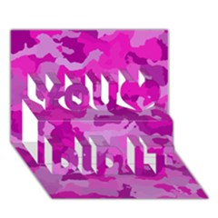 Camouflage Hot Pink You Did It 3d Greeting Card (7x5)
