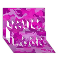 Camouflage Hot Pink You Rock 3d Greeting Card (7x5)