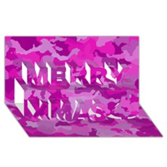 Camouflage Hot Pink Merry Xmas 3D Greeting Card (8x4)