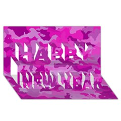Camouflage Hot Pink Happy New Year 3d Greeting Card (8x4)