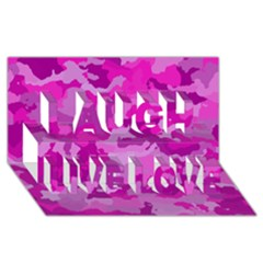 Camouflage Hot Pink Laugh Live Love 3D Greeting Card (8x4)